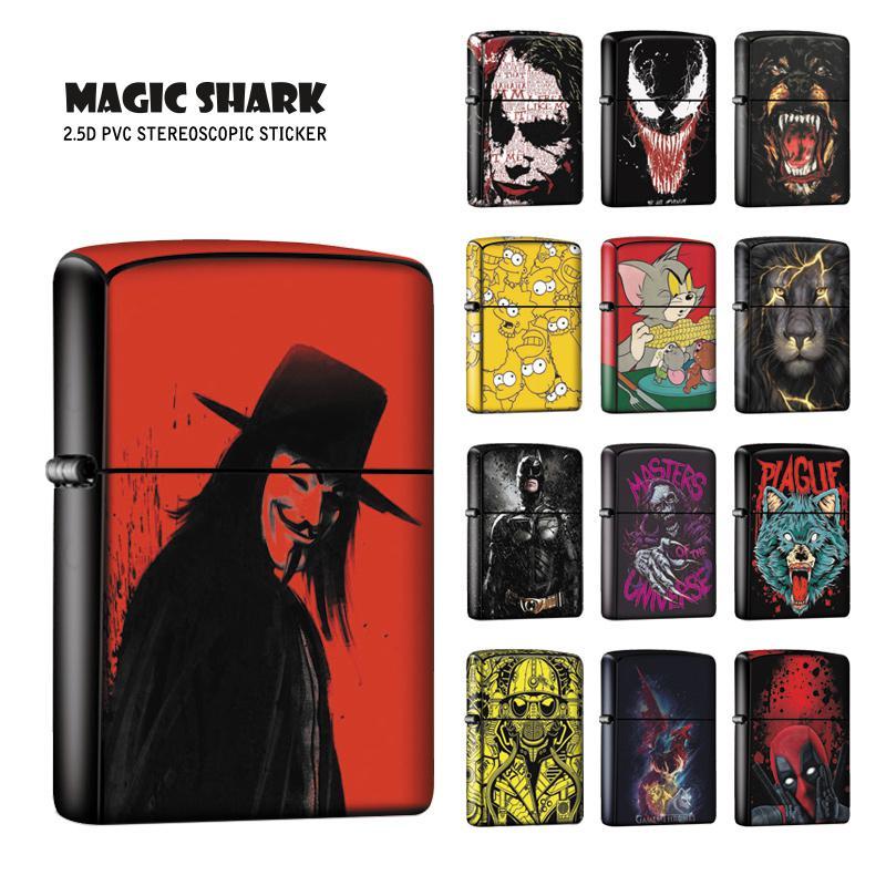 Magic Shark Skull Lion Wolf Venom Joker Star War Stereo Cool Vendetta Sticker Case Cover Film for Zippo Lighter