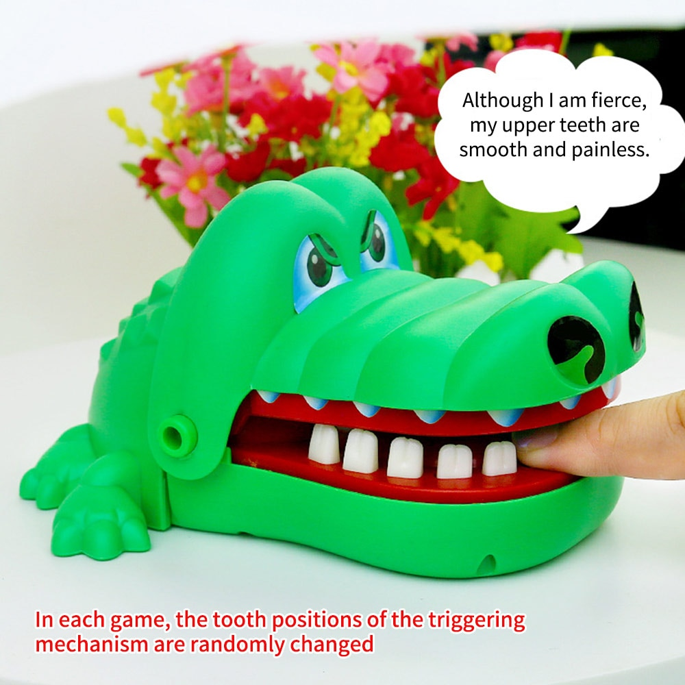 2017 hot crocodile jokes mouth dentist bite finger game joke fun funny crocodile toy antistress gift kids child family prank toy Electric Teeth Bite Toy Crocodile Mouth Dentist Bite Finger Game Safe Rubber Teeth Funny Gags Toy For Kids Play Fun
