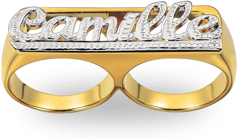 خاتم مطلي بالذهب عيار 18 قيراط مع اسم قابل للتخصيص ، خاتم للجنسين مطلي بالذهب عيار 18 قيراط مع اسم مزدوج