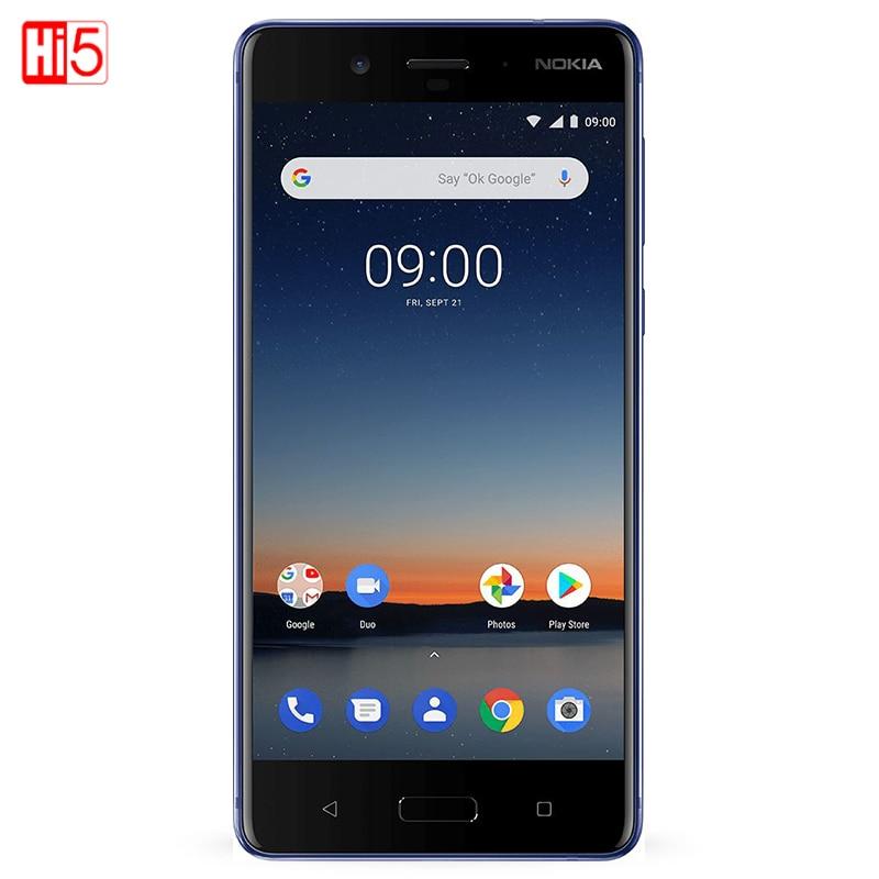Nokia 8 original desbloqueado, câmera traseira dupla de 13.0mp, tela de 5.3 polegadas, 4 gb + 64 gb de impressão digital