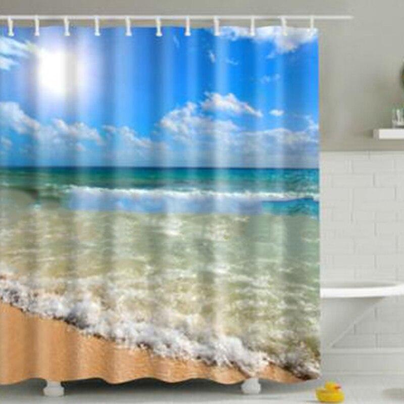 Cortina de ducha de impresión Digital 3D Liege Beach, cortina de ducha de poliéster moho impermeable gruesa, accesorios de baño