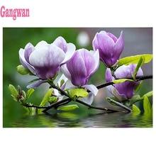 DIY diamant malerei kreuz stich Magnolia Blume volle mosaik diamant stickerei platz runde 5D handgemachte geschenk hause dekoration