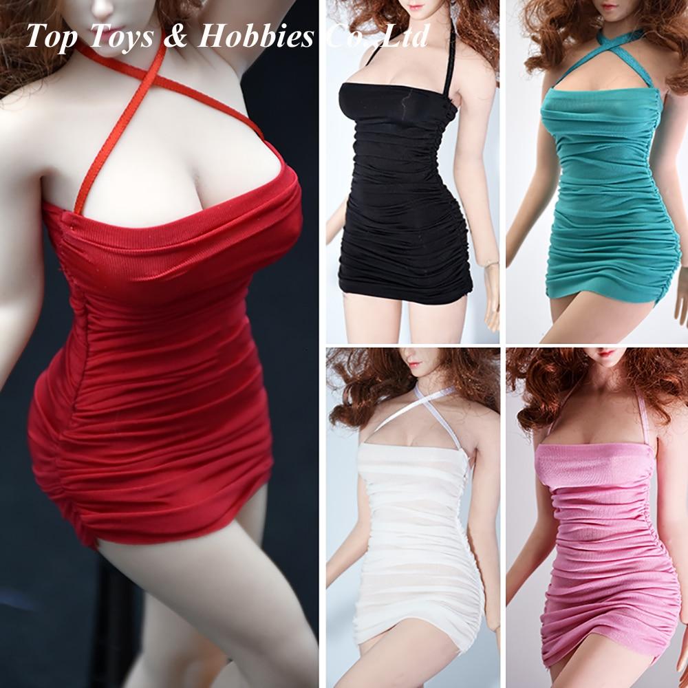 En stock 1/6 Mini Falda plisada ajustada falda de tirantes para muñeca femenina de 12 pulgadas S38/39