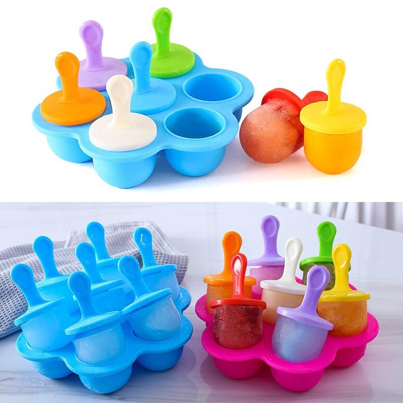 1 Uds bebé DIY suplemento de alimentos herramientas portátil licuado de frutas accesorios 7 molde de silicona con agujeros máquina para hacer bolas de helado de grado de alimentos