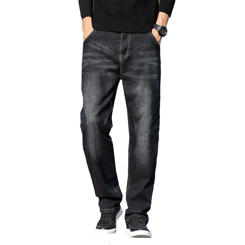 Мужские легкие черные прямые свободные джинсы, сезон весна-лето 2021, высококачественные Молодежные тонкие джинсы большого размера 40 42 44