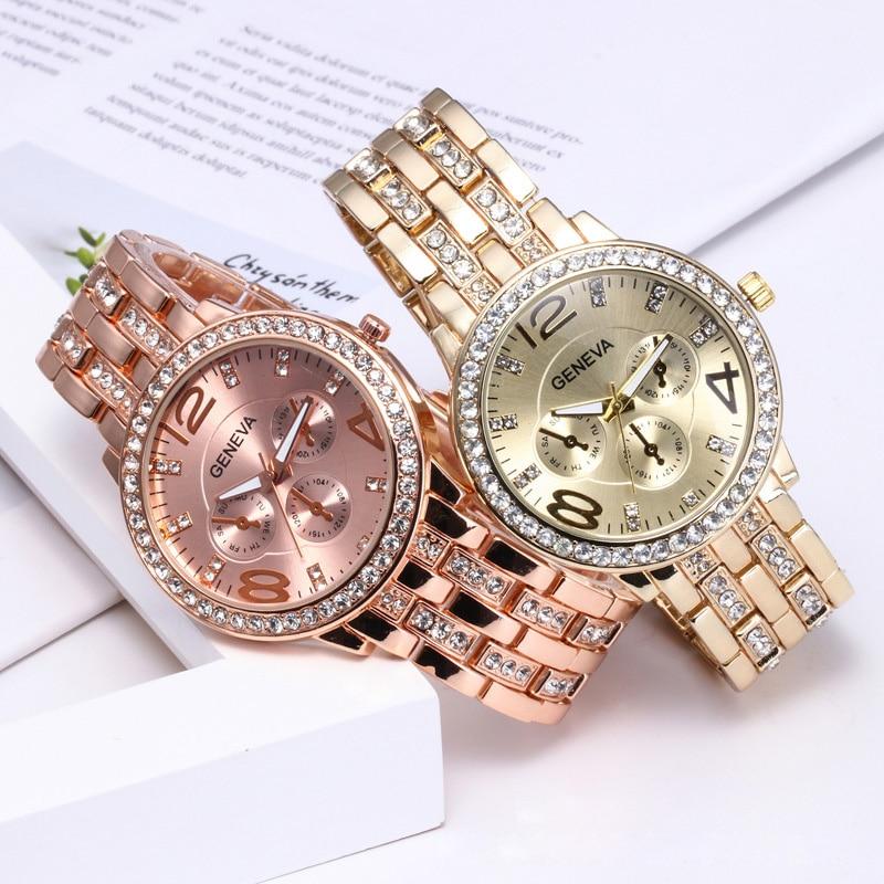 YUNAO Explosive Geneva Steel Band Alloy Watch Fashion Diamond Three-eye Ladies Watch 2021 New Product Quartz Watch Female enlarge