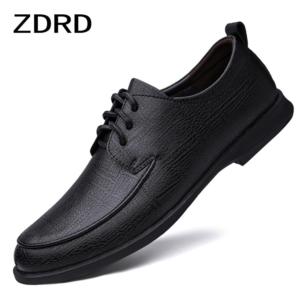 Spring Autumn Men Oxfords Genuine Leather Shoes Lace Up Soft Black Office Business Wedding Party Shoes Men Luxury Dress Shoes