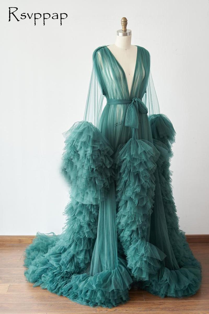 Long Emerald Green Evening Dress 2021 Long Sleeve Ruffles Tulle African Pregnant Women Cape Maternity Formal Evening Gowns