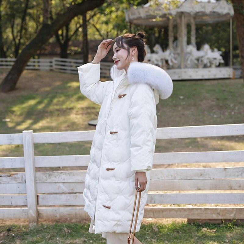 Женские пуховики 2020 года, зимние длинные Свободные корейские черные парки с капюшоном и меховым воротником, женские пуховики