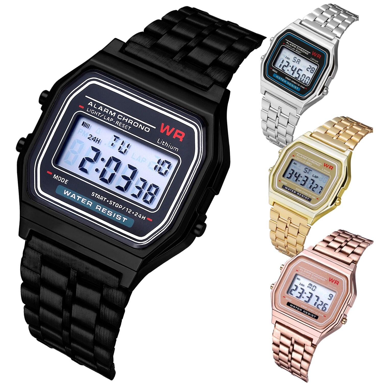 F91W Watches Steel Strap Watch Women Men Business Clock Multifunction LED Digtal Sports Wrist Watch Electronic Clock