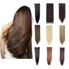 "Lelinta 26 ""Straight Natuurlijke Zwarte Mix Silver Grey Clip In Hair Extensions Dikke Vol Hoofd Lange 8 Stuks 18 clips Soft Silky"
