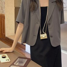 Short Sleeve Suit Coat Women's Thin 2021 Summer New Korean Vertical Loose Short Casual Small Suit