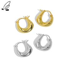 S'STEEL Simple Irregular Sense Tremella Button Female Sterling Silver 925 Hoop Earrings Gift For Wom