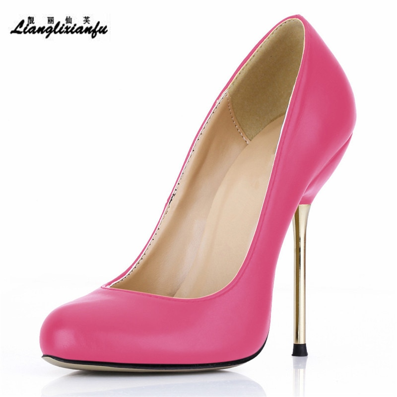 LLXF damas Stilettos tiras gladiador Rosa zapatos mujer 14cm delgado de tacón alto club nocturno negro punta redonda bombas sapato femenino