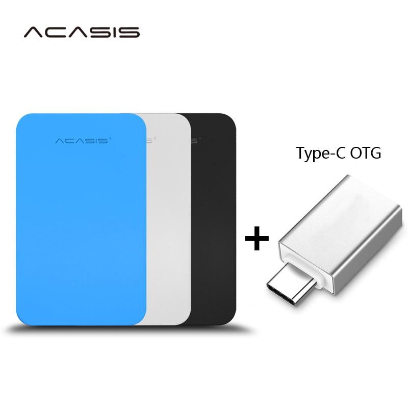 "ACASIS Original 2,5 ""disco duro externo portátil USB3.0 alta velocidad HDD para PC/Mac tipo-c interfaz de teléfono móvil Android"