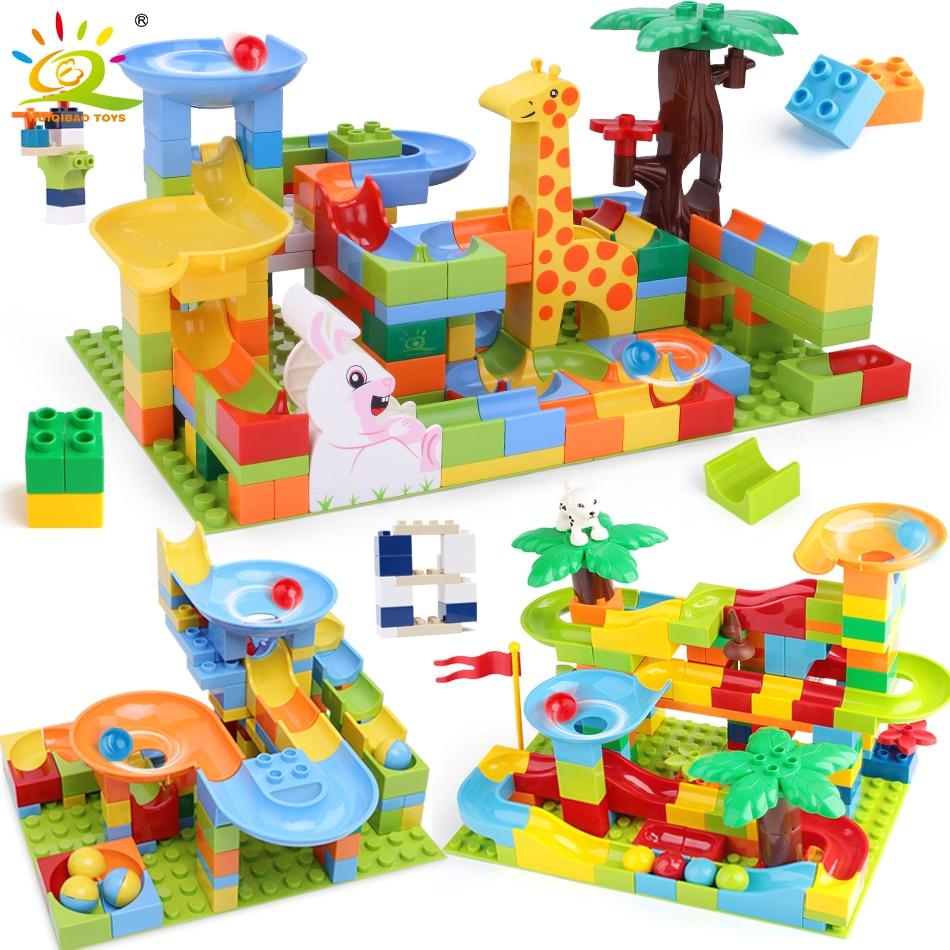 HUIQIBAO 52-182pcs Marble Race Run DIY Maze Balls Building Blocks Funnel Slide Big Size Bricks Educational Baby Toys Children