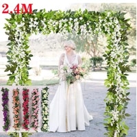 2 4m rose artificial flowers hanging flowers diy holiday garland wall decoration rattan fake plants leaves for wedding garden