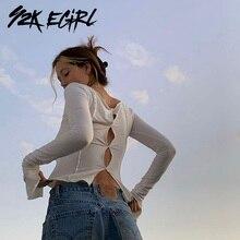 Y2K EGIRL 90s esthétique solide évider à manches longues T-shirts Vintage Streetwear o-cou point hauts courts automne mode T-shirts