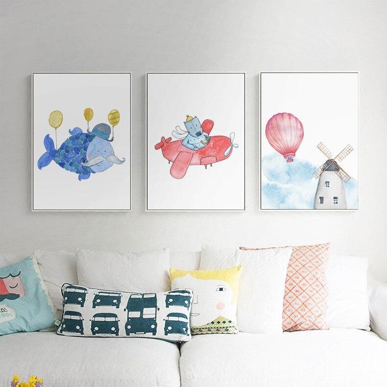 Globos aerostáticos para transporte de animales, carteles nórdicos e impresiones, cuadro sobre lienzo para pared, imágenes para pared, decoración para habitación de bebés y niños