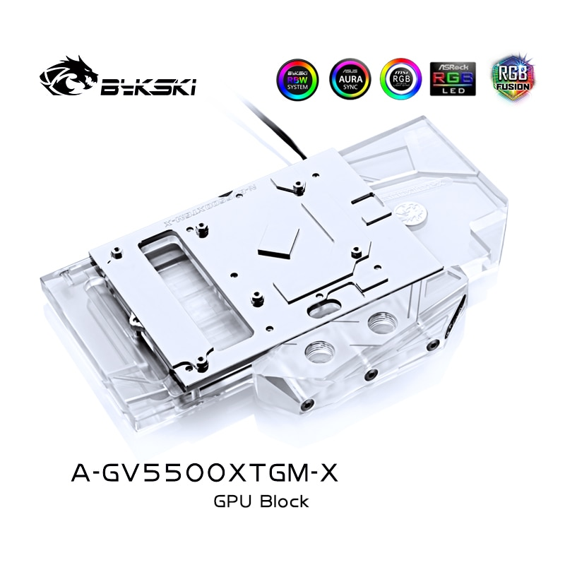 BYKSKI كتلة تبريد المياه لجيجابايت RX5500XT الألعاب OC 8 جرام 5 فولت 3PIN/12 فولت 4PIN A-RGB /RGB ضوء