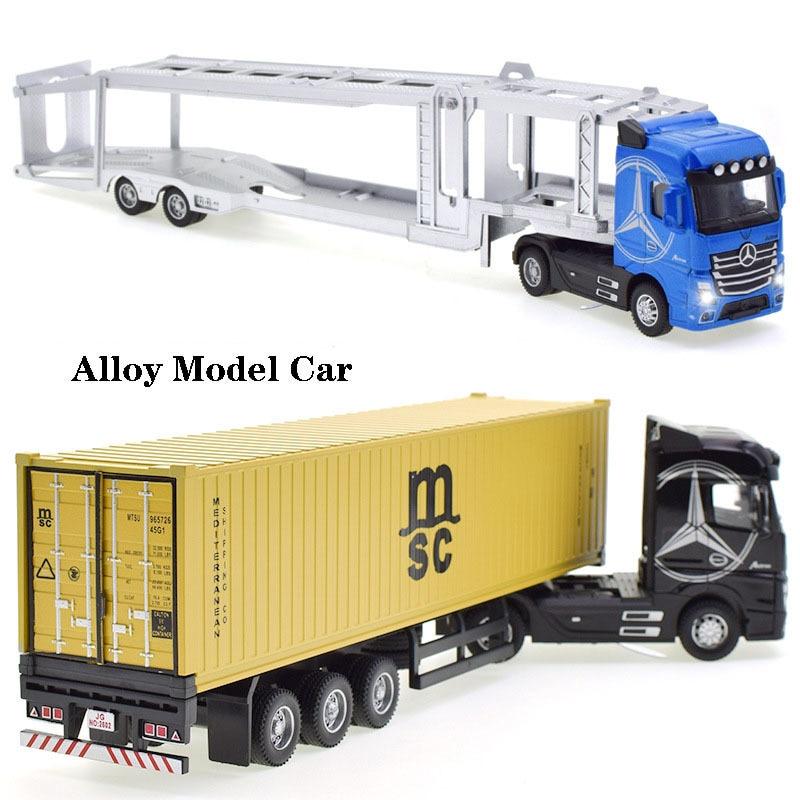 Cabeza de camión de aleación fundido a presión, modelo de camión contenedor de juguete, Tire hacia atrás con luz, vehículo de transporte de ingeniería, juguetes para niños, 1:50