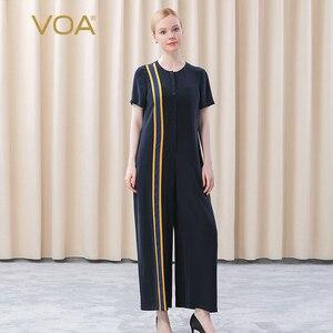 VOA 2021 Summer Fashion Silk Striped Loose Jumpsuits for Women KE263 O-Neck High Quality Luxury Short Sleeves Wide Leg Pants