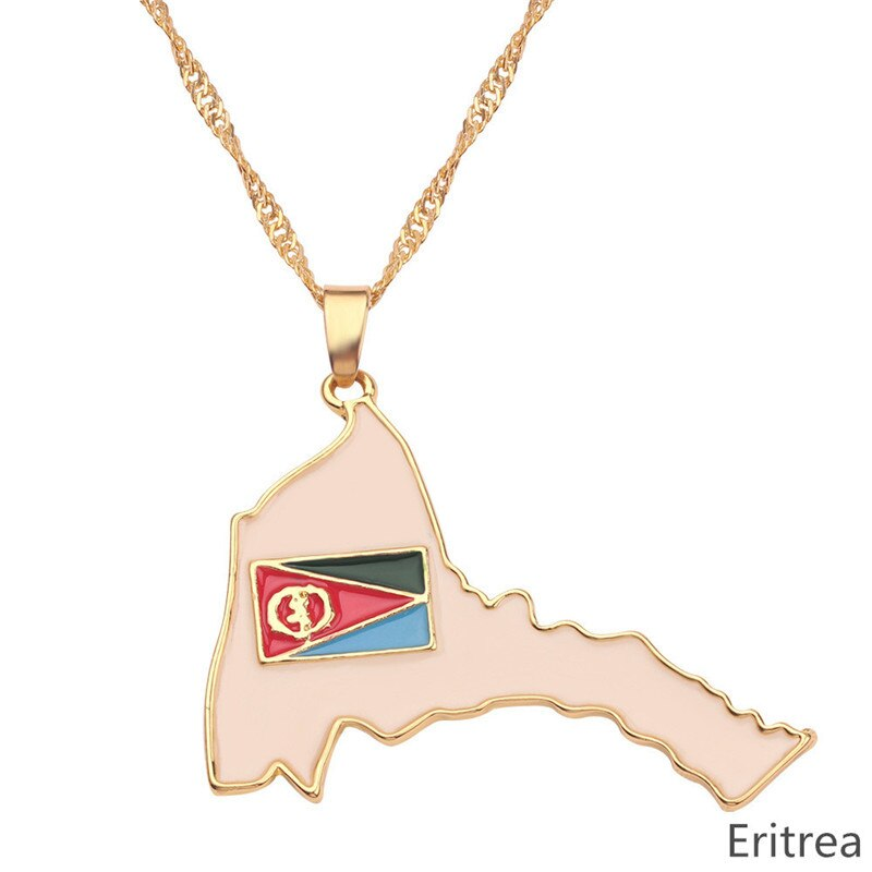 Eritrea Map Pride Flag Pendant Necklaces Women Men Gold Color Chain Ethnic Jewelry Enamel Africa Maps of Eritrean