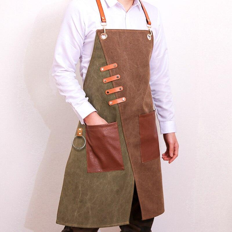 Vaquero de moda para Chef, cocina, barbacoa con bolsillos, parrilla para hornear,...