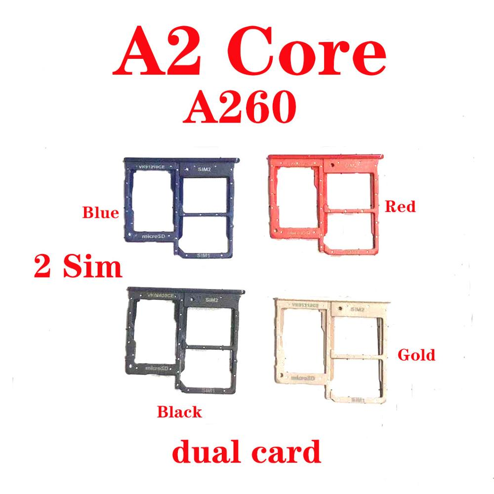 Original DUAL Sim Card Tray SD Card Reader Socket Slot Holder Replacement Part For Samsung A2 Core A