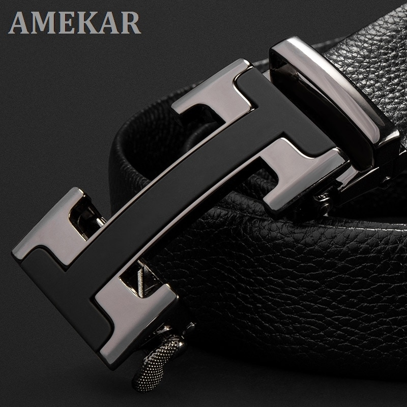 Brand High Quality genuine leather automatic buckle top layer cowhide belt pure men's business pants