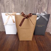5Pcs Folding Paper Bags Ribbon Box Thank You Wedding Party Gift Sweets Holder Gift box Kraft Paper DIY gift bag Candy box kawaii