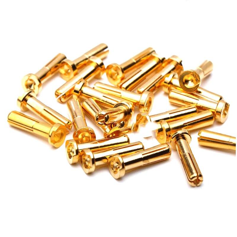 Conector de clavija de plátano Amass 10 Uds 4mm 5mm macho para Motor teledirigido ESC batería parte chapada en oro
