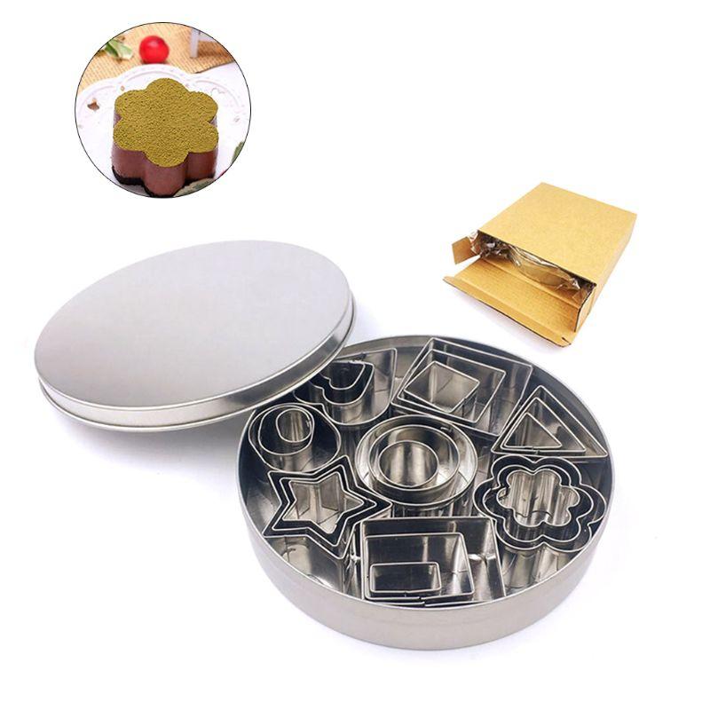 Mini cortador de galletas, Set de 24 moldes pequeños, masa de pastelería, fruta de la corteza del Pie, flor, corazón, estrella, moldes geométricos para pastel de formas