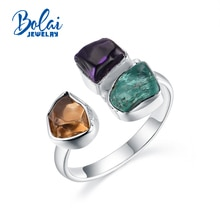 Bolai bijoux, 2020 Unique fait à la main bague brute améthyste naturelle citrine apatite pierre précieuse, 925 sterling Fine bijoux pour les femmes