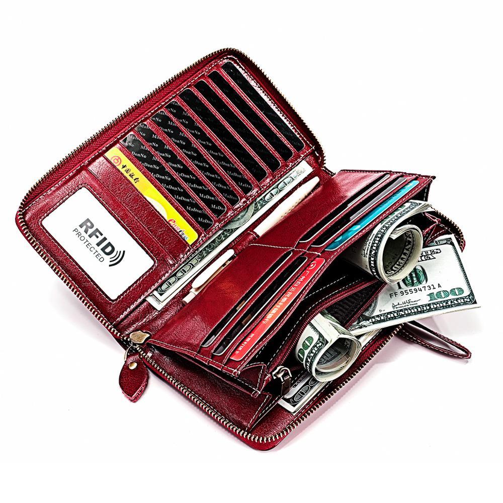 RFID Design Women Clutch Wallets Genuine Leather Womens Long Wallet Zipper Coin Purse Crazy Horse Cowskin Money Phone Bag
