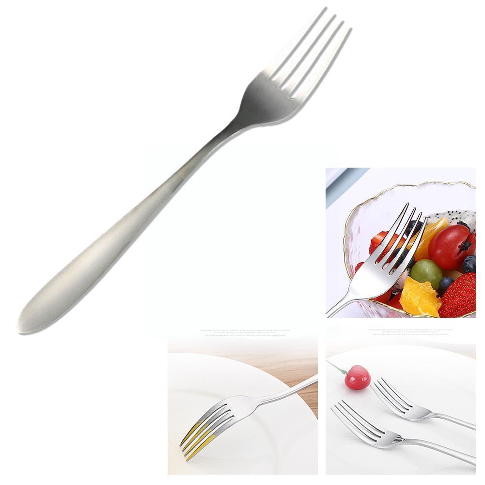 Silver Fork Steel Fruit Fork Western Food Restaurant Fork Gift Dinnerware Tableware Steak Snack Dessert For Home X2H5