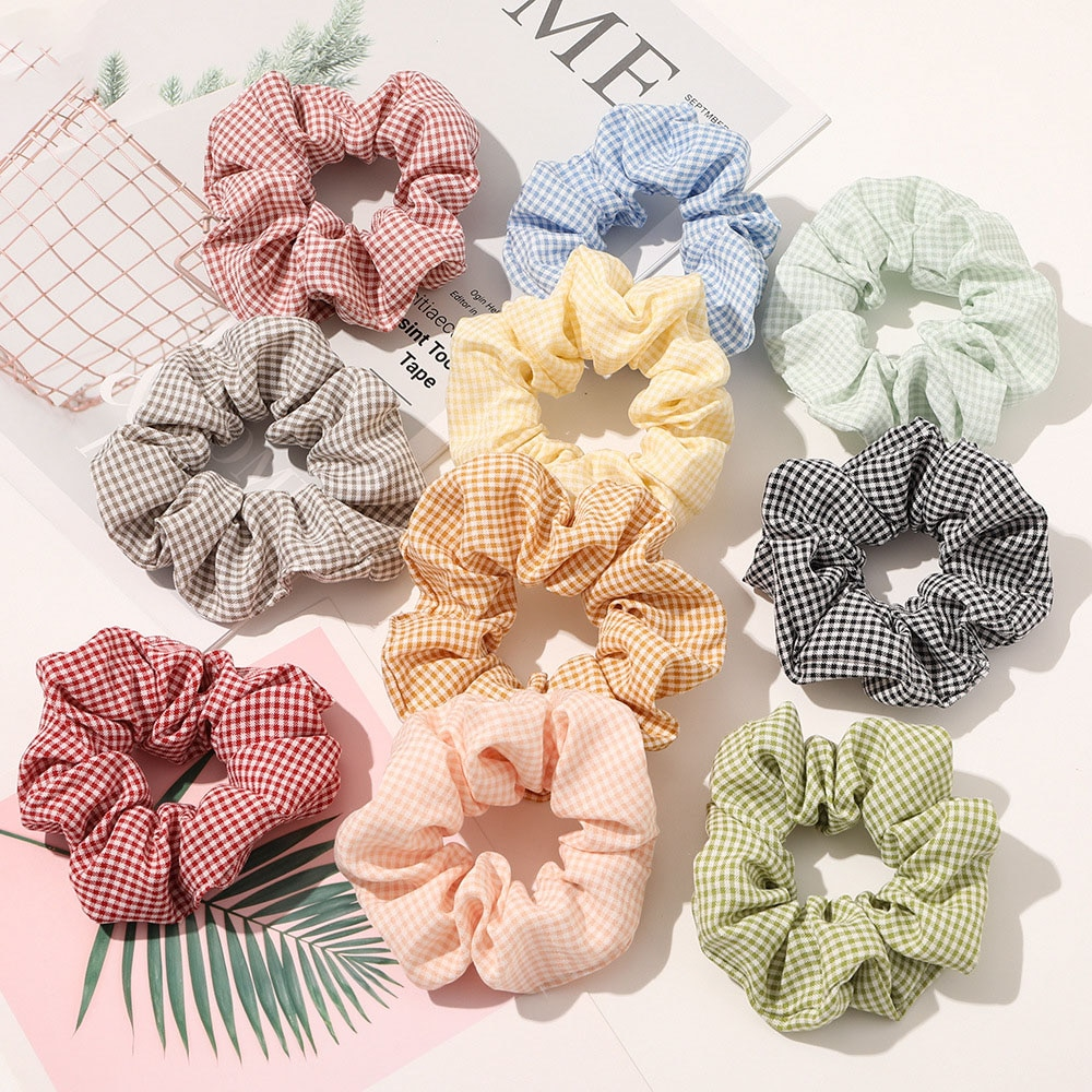 2020 New Scrunchie Band 10pcs/lot Plaid Hair Scrunchies Pack Bulk Sale Brand Quality VSCO Girls Hairbands Set