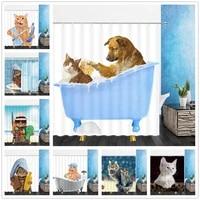 Rideaux de douche en Polyester  decoration de salle de bain  motif Animal  chat  Animal mignon  decoration de maison  tissu de bain  ensemble de rideaux suspendus avec crochets