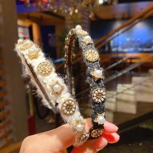 2020 New Korea Style Girl Headdress Retro Classic Wool Simple Baroque Rhinestone HairBands for Women Fashion Hair Accessories