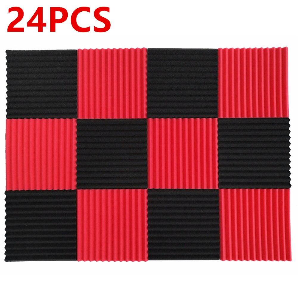 رغوة عازلة للصوت 1 × 12 × 12 بوصة ، رغوة امتصاص الصوت ، أسود وأحمر ، 24 قطعة