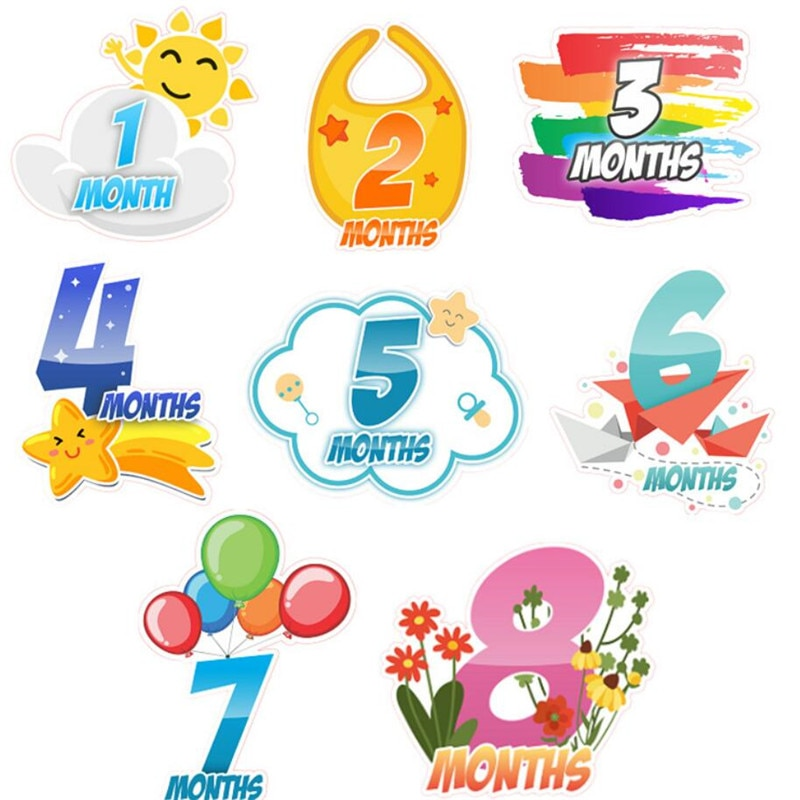 18pcs Month Sticker Cute Cartoon Baby Stickers Photography Milestone Memorial Monthly Sticker Newborn K Boys Girls Photograph