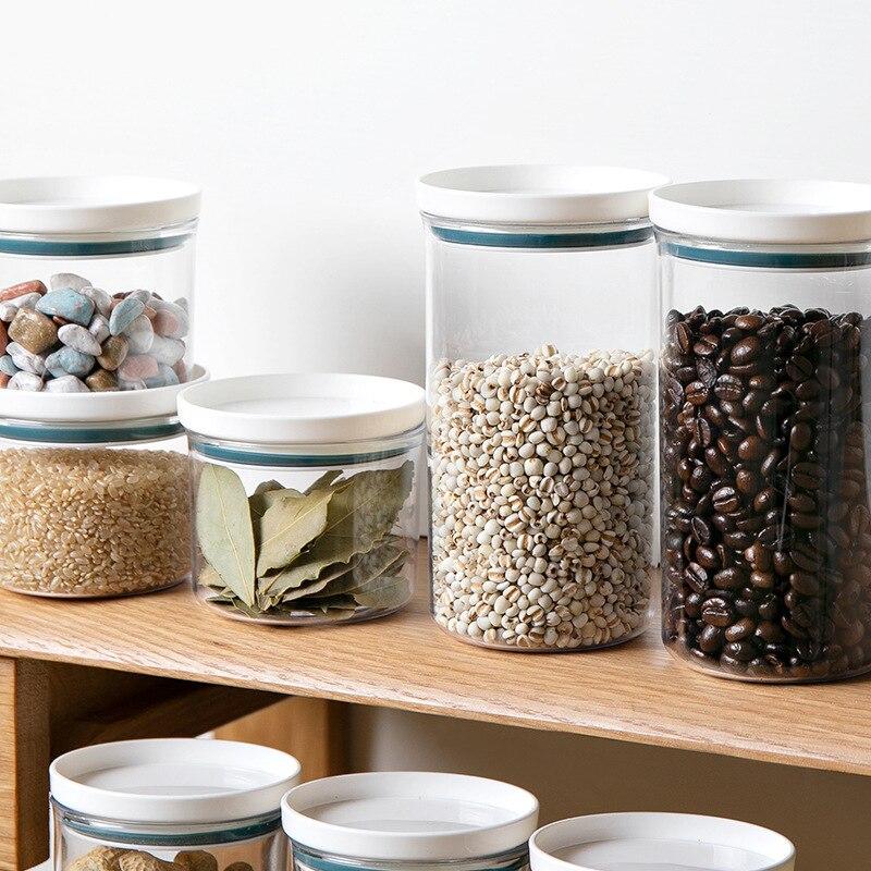 1 Uds nuevo contenedor de almacenamiento de alimentos plástico cocina nevera fideo caja almacenamiento multigrano transparente latas selladas 4 tamaños