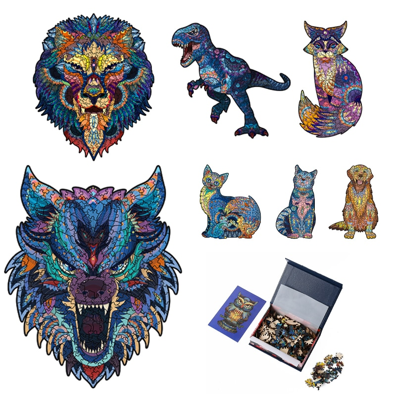 Dinosaur 3D Wooden Puzzle Adult Kids Jigsaw Puzzles Animal Puzzles Boutique Gift Box Packaging Children Christmas Gifts Toys недорого