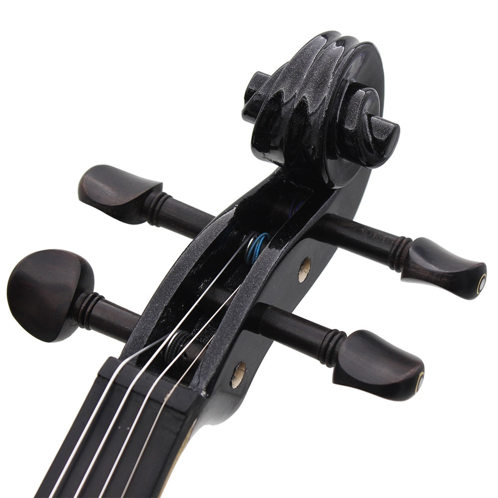 Professional 4/4 Electric Silent Violin Black Fiddle Stringed Instrument With Accessories Case Cable Headphone For Music Lovers enlarge