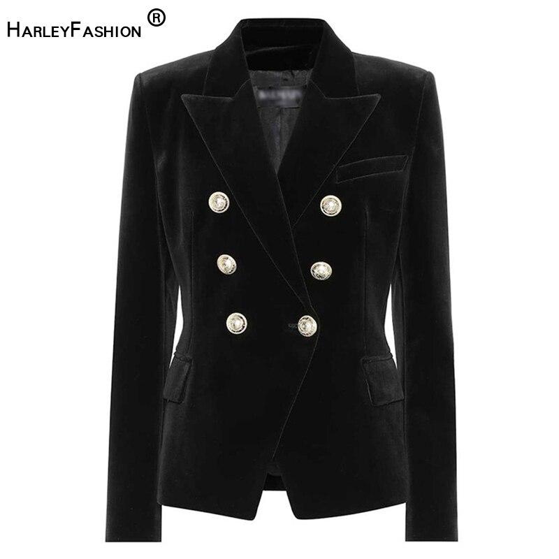 HarleyFashion تصميم المرأة الخريف الربيع ملابس خارجية جاكيتات أزرار معدنية الصلبة الجودة عادية المخملية السترة