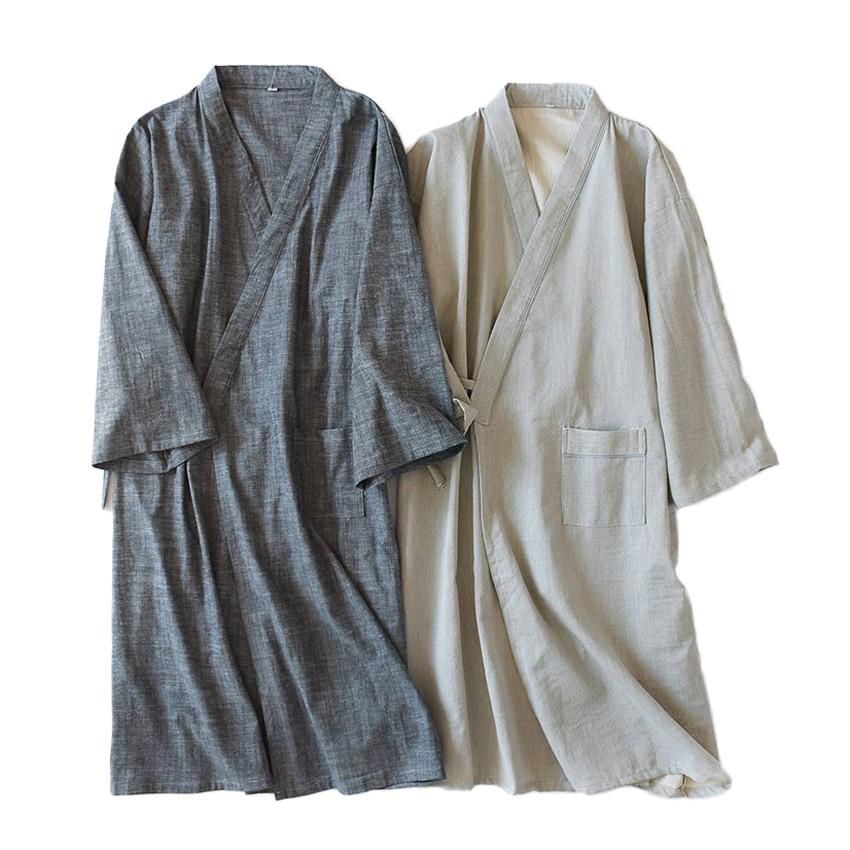 Pijama japonés tradicional estilo suelto ropa de pareja mujeres hombres pijamas de algodón suave y cómoda Kimono Yukata pijamas Bata