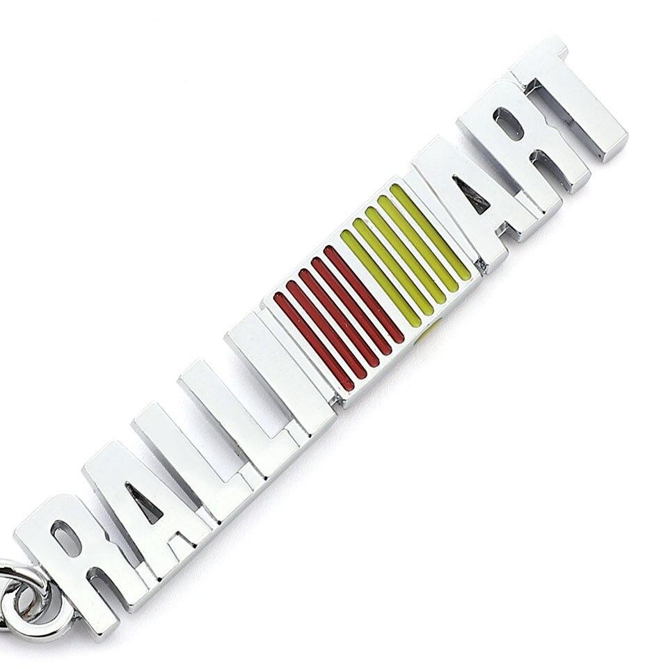 Car Keychain Metal Keyring for RALLIART Logo Key Chain JDM Racing Emblem for Mitsubishi Lancer 9 10 Asx Outlander Pajero L200