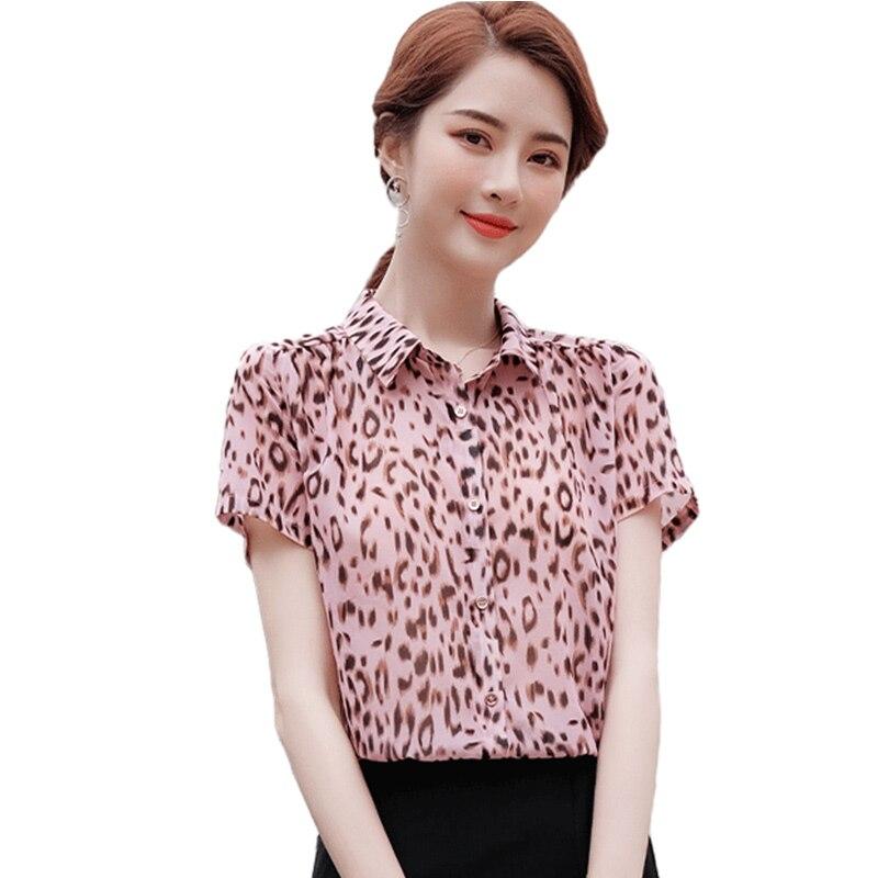 Camisa con estampado de leopardo para mujer, ropa de diseño de manga...