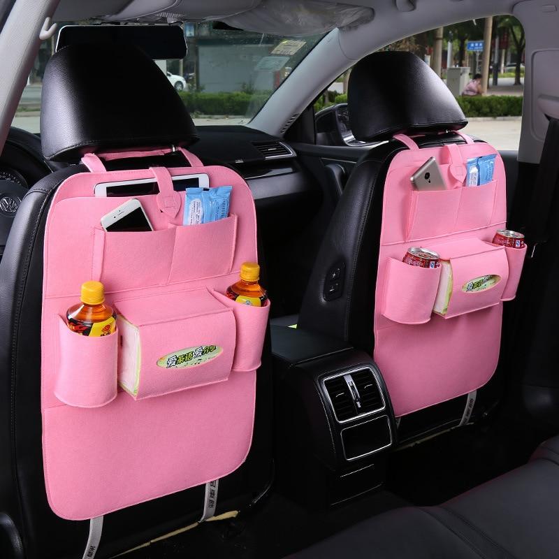 Bolso colgante de fieltro de coche IMBABY, bolsa de almacenamiento para asiento de cuero PU con bolsa de almacenamiento para asiento con corazón de melocotón, bolsas de asiento de seguridad, bolsa de almacenamiento de coche