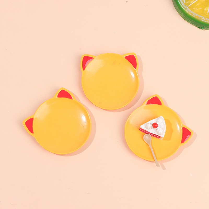 1Pc 1/12 Scale Doll House Kitchen Dish Accessories 1:12 Model Toy Mini Cute Cat Shape Dish New